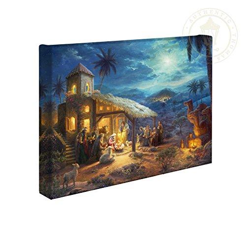 Christmas Paintings - Thomas Kinkade The Nativity 10 x 14 Gallery Wrapped Canvas