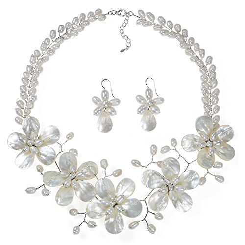 AeraVida Floral White Mother of Pearl & Cultured Freshwater White Pearl Fancy Jewelry Set ()