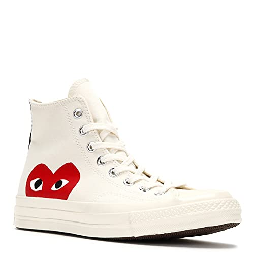 9662a22067220c Comme des Garcons Men s Play Converse Chuck Taylor-High Sneakers 150205C  Beige SZ 4 (
