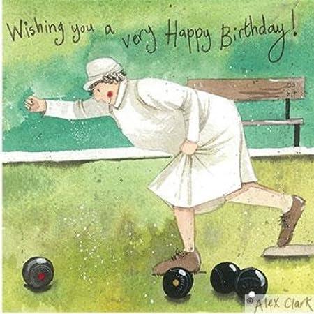 Lady Bowler Birthday Greeting Card By Alex Clark Amazon