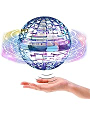 Flying Ball Toys【2021 Upgraded】Globe Shape Magic Controller Mini Drone Flying Toy, Built-in RGB Lights Spinner 360° Rotating Spinning UFO Safe for Kids Adults Magic Flying Toys Outdoor Indoor
