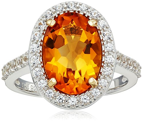 Madeira Citrine Ring (Sterling Silver Genuine Madeira Citrine and Created White Sapphire Halo Ring, Size 7)