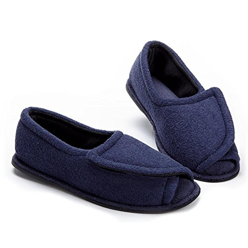 Clinic Comfort Terry Cloth Rubber Sole Slipper - Navy Blue - Medium - Double-Wide