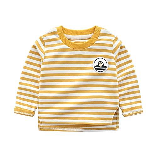 Cartoon Baby T-shirt - HUAER& Baby Boys Cotton Long Sleeve T Shirt Cartoon Dog Dinosaur Rocket Print Tops (1.5-2T(height80-90cm/30-34inch), Yellow Stripe)