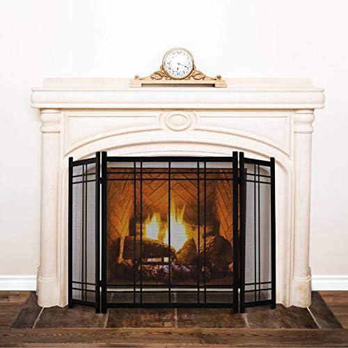 暖炉スクリーン 錬鉄の暖炉スクリーン、大型インテリア暖炉3-パネル立ちゲートを有するメッシュカバーに赤ちゃんの安全、スパークガードとウッドバーニング