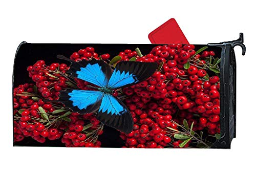 Fruity Treat Butterfly Morpho Berries Red Mailbox Covers Magnetic, Seasonal Home Houses Decorations Mailbox Wraps, 6.5 x19 Inch Standard Size,Multicolor