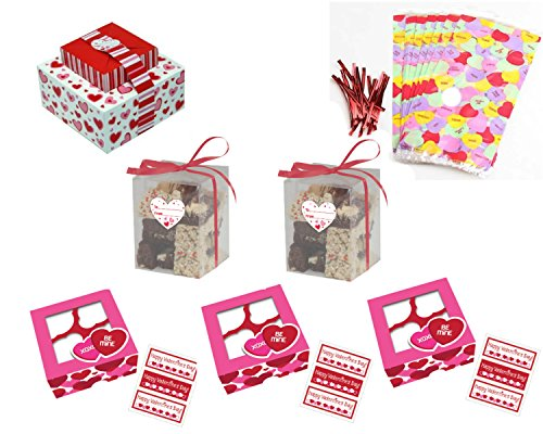 Valentines Day Baked Good Gift Box/Bag Kit - Includes 3 Cupcake Boxes, 2 Clear Cookie Treat Boxes, 2 Stackable Cookie Treat Boxes and 20 Large Cello Treat Bags