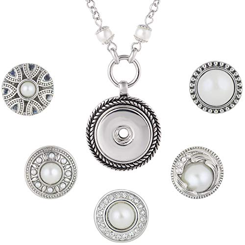 Interchangeable Pearl - LEGENSTAR Interchangeable Pearl Pendant Necklace with 5 Snap Buttons for Women(Pearl Buttons)