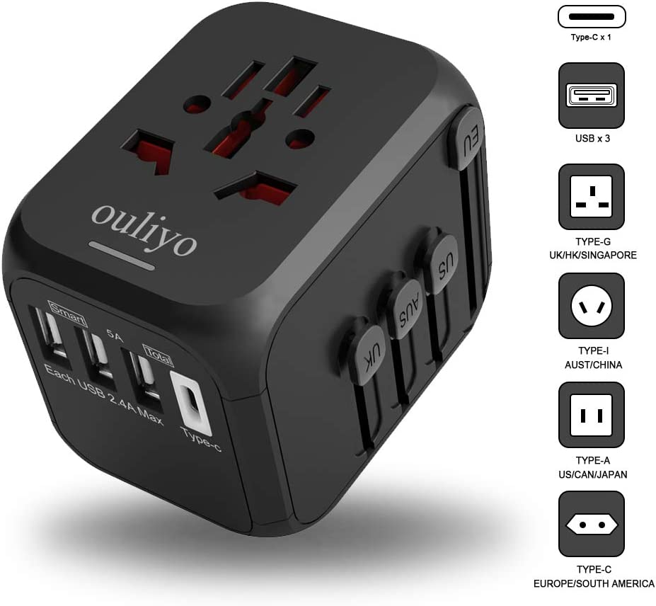 International Travel Adapter for Europe, UK, US, AU, Asia Over 200 Countries,Universal Power Adapter,pulg outlets converters 2 Prong to 3 Prong Worldwide All in one World Type g/c USB Converter