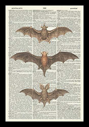 GOTHIC BATS ART PRINT-STEAMPUNK ART PRINT-ART PRINT-Vintage Art Print-Halloween Illustration-Picture-Vintage Dictionary Art Print-Wall Hanging-Home Décor-Book Print-Wall Art A4 12x8 inches