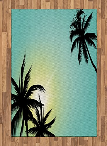 Ambesonne Modern Area Rug, Hawaiian Miami Beach Island Palm Trees with Sun Like Clear Skies Art Print Image, Flat Woven Accent Rug for Living Room Bedroom Dining Room, 4' X 5.7', Seafoam Black
