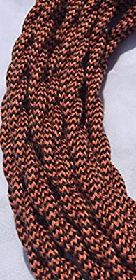 Black and Burnt Copper Cotton Covered Cord - 25' 18/2 Twisted Cloth Cord by Industrial Rewind
