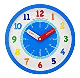 Nursery Teaching Tell The Time Wall Clock By London Clock Company 24439 (Blue)