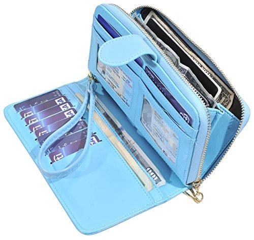 Blue Wallet - RFID Blocking Womens Ladies Wallet Leather Long Zip Clutch Purse Card Holder (Light Blue)
