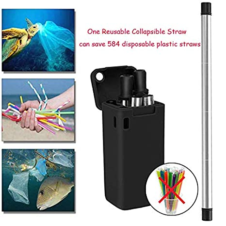 pliable LANTOP Paille pliable r/éutilisable en acier inoxydable de qualit/é alimentaire portable pour boire avec porte-cl/és brosse de nettoyage Black/&pink sans BPA
