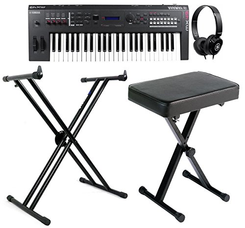 Pkg:Yamaha MX49 49-Key Keyboard PerformanceSynthesizer+Rockville RKS30X DoubleXBracedKeyboard Stand+Yamaha PKBB1 Folding metalKeyboard Bench+Yamaha HPH-50B CompactDynamic Instrument/Stereo Headphones (Pkg Key)