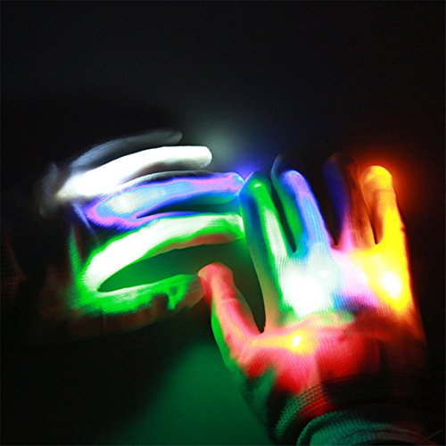 FULLIN Flashing LED Light Hand Gloves for Holiday Raves Party Events Shows Best Idea Christmas Gift for Christmas Party Disco Dancing