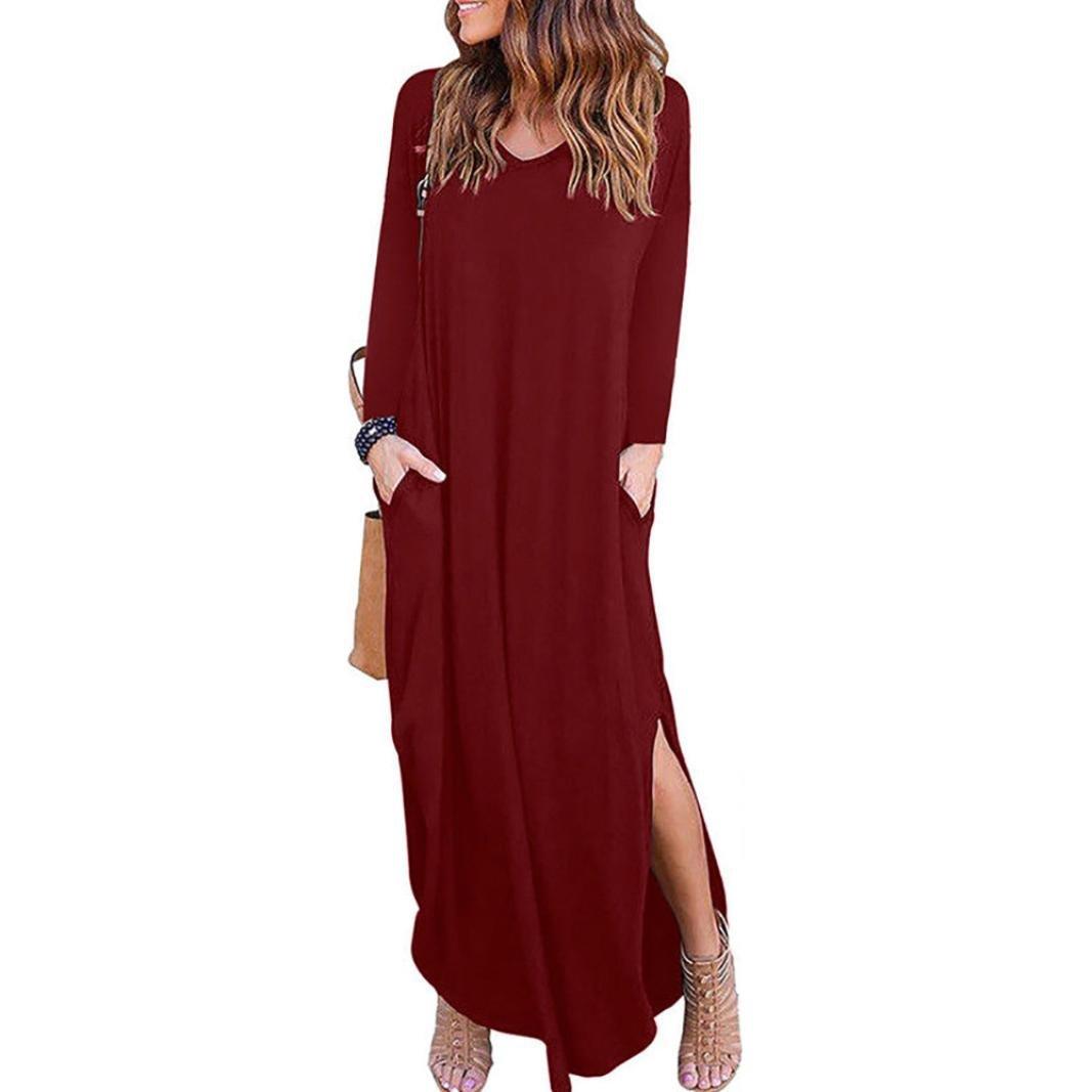 Women Long Dress Daoroka Loose Casual Maxi Plain Skirt Split Side With Pocket Short Sleeve Beach Floor-Length Sundress (L, Red 2)