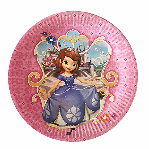 "Sofia the First Paper Plates, Large Round 9"" inch Dinner plates, Partyware Tableware Party Decorations -10 pcs, Disney Jr"