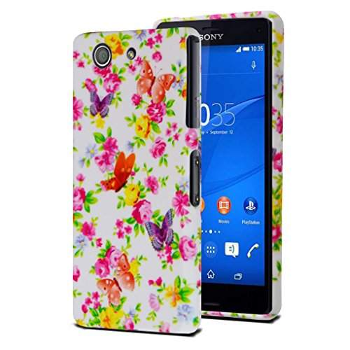 l Pink Flower Compatible with Sony Xperia Z3 Compact/Mini Soft Silicone Gel Skin Case Cover with Screen Protector ()