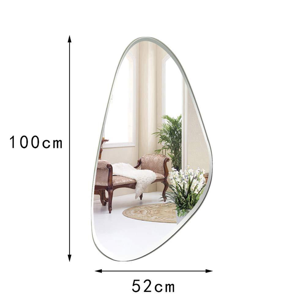 Lisse Biseaut/é Imperm/éable Horizontal Ou Vertical,52x100cm Miroir Sur Toute La Longueur Miroir De Salle De Bain Miroir Mural Miroir Grossissant Miroir De Maquillage Forme De Goutte Deau