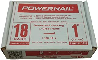 "product image for Powernail 18 Gauge, 1"" L-shaped Cleat Nail for Wood Flooring (1 Case of 5-1000 ct. boxes)"