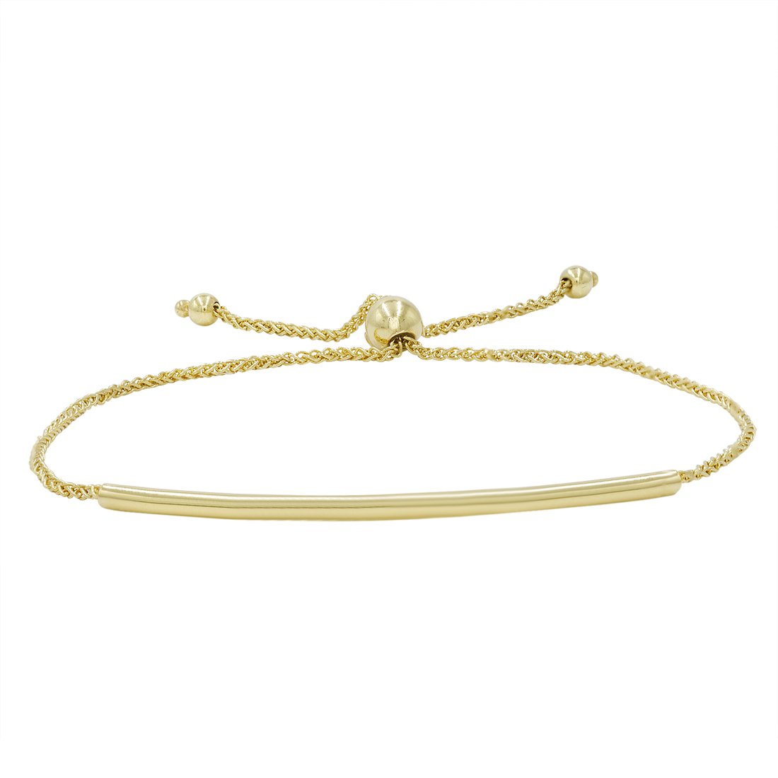 Amanda Rose Bar Bolo Bracelet in 14k Yellow Gold (Adjustable)