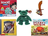 Childrens Gift Bundle - Ages 3-5 [5 Piece] - Ni Hao Kai-Lan Edition Memory Game - CandyRific Disney Light-up Jake Sword w/ Candy Toy - Ty Beanie Baby - Erin the Irish St Patricks Teddy Bear - Tho
