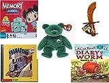 Childrens Gift Bundle - Ages 3-5 [5 Piece] - Ni Hao Kai-LAN Edition Memory Game - CandyRific Disney Light-up Jake Sword w/ Candy Toy - Ty Beanie Baby - Erin The Irish St Patricks Teddy Bear - THO