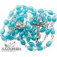 Beautiful Catholic Light Blue Glass Beads Rosary with Metal Crucifix from Jerusalem