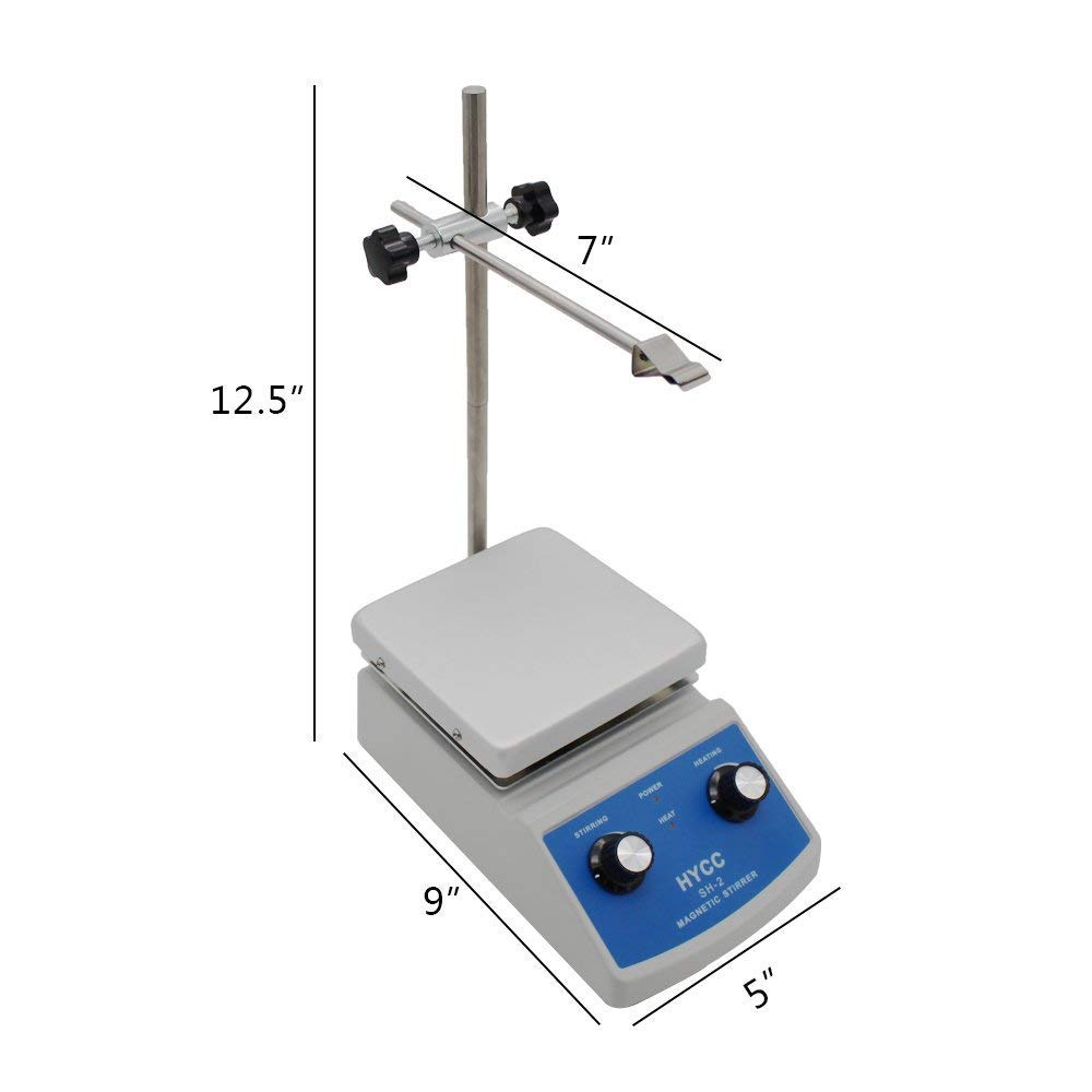 HYCC SH-2 Laboratory Magnetic Stirrer HotPlate, 30mm Mixer Stir Bar and Thermometer Support, 120x120mm Aluminium Panel,Heating & Stirring Type