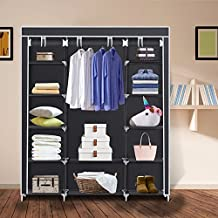 Herron Clothes Closet Portable Storage Organizer Wardrobe Closet with Nonwoven Fabric - Quick and Easy to Assemblely - Extra Strong and Durable - Extra Space - Black- 59 inch