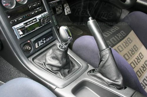 Black Leather-Blue Thread RedlineGoods Shift Boot Compatible with Nissan Skyline R32 1989-93