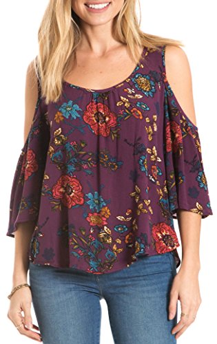 Eyeshadow Juniors Floral Print Cold Shoulder Top Large Purple/ multi