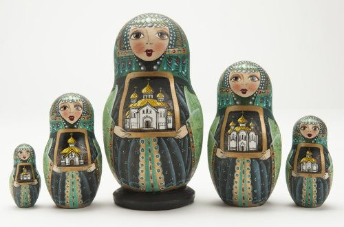 (Russian Wooden Hand Painted Green Churches Matryoshka Nesting Dolls)