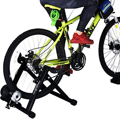 HEALTH LINE PRODUCT H0liday Pr0m0ti0n Price Bike Trainer Stand, Heavy Duty Stable Bike Stationary Riding Stand Supports 350lbs Bicycle Trainer with Quick Release Wheel Block 8 Level Resistance