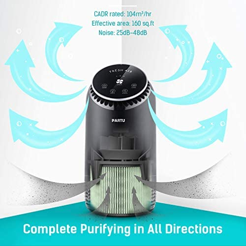 PARTU Air Purifier for Home with True HEPA & Active Carbon Filter 25dB Silient Home Air Cleaner for 99.97% Bacteria, Allergens, Dust,etc 100% Ozone Free