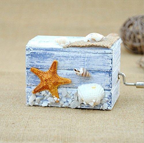 Wooden Music Box Hand Crank Mini Music Box Player for Birthday Present (Blue) (Box Music Mini)