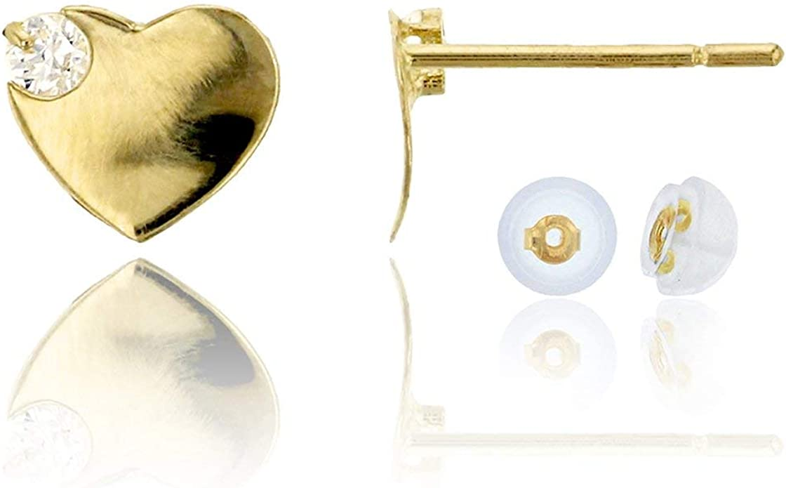 14K Solid Gold Micro Pave CZ Heart Stud Earrings