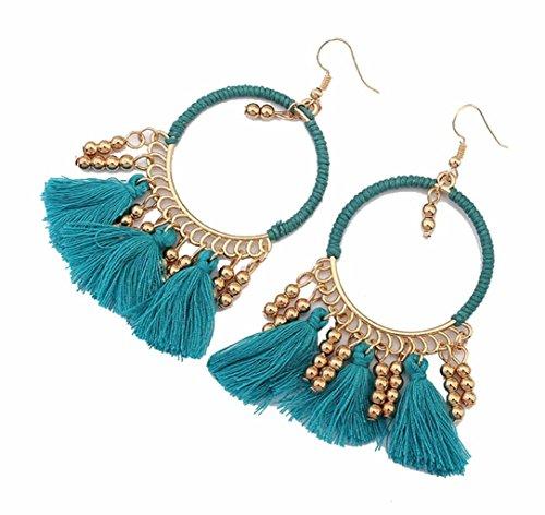 - Handcrafted Beads Tassel Eardrop Statement Big Drop Dangle Hoop Long Earrings for Women Blue