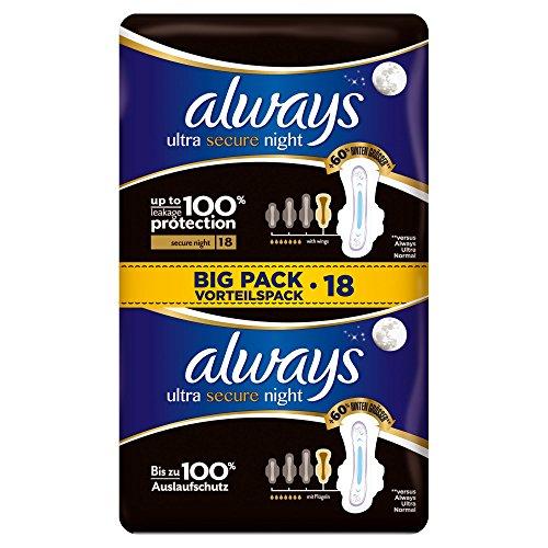 Always Ultra Secure Night Binden mit Flügeln, Vorteilspack, 10er Pack (10 x 18 Stück)