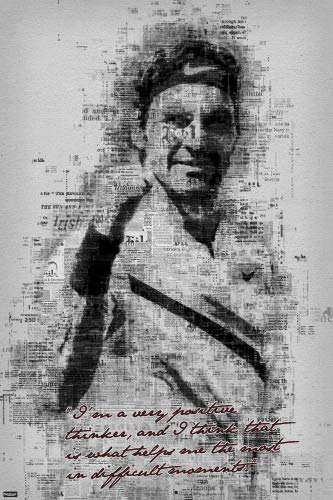 Swiss Professional Tennis Player Art Print Poster Very Positive Thinker Quote 24x36 inch ()