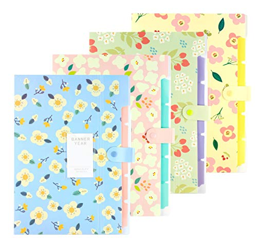 Expanding File Folder - 4 Pcs Floral Printed Accordian File Organizer with 5 Pockets Plastic A4 Letter Size Document Organizer for School and Office