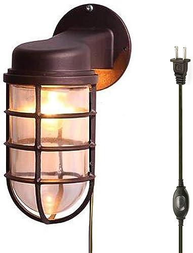Kiven Waterproof Exterior Outdoor Indoor Cage Light Wall Plug-in Mount Lantern Industrial Barn Sconce