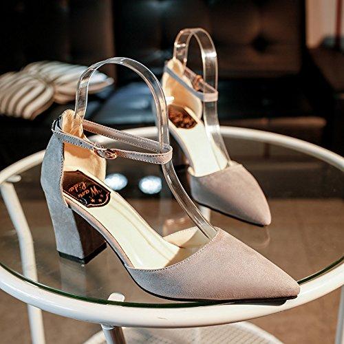 Xue Qiqi Tipp Schwarz Satin High Heels und auf unebenem Boden mit 100 Studenten zu integrieren mit einzelnen Schuhe weiblich 34 grau (Clip)