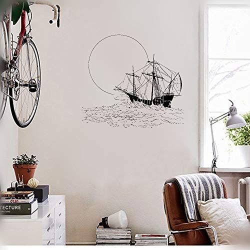 Ship Trip Rocket - kiyua Removable Vinyl Decal Art Mural Home Decor Wall Stickers Ship Boat Sea Travel Ocean Sunset Trip