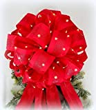 Lit Christmas Tree Topper bow | XL Gift Bow | Christmas Decoration | LED Lighted Lights | Red Satin Glitter Stripe