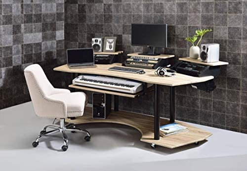 Q-Max 37″ Tall Modern Style Computer Desk In Natural Oak
