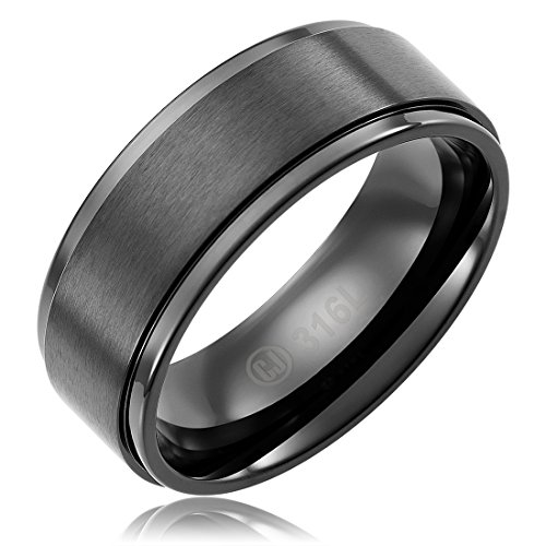 Cavalier Jewelers 8MM Mens Jewelry Grade Stainless Steel Ring Wedding Band | Black Plated | Brushed Top