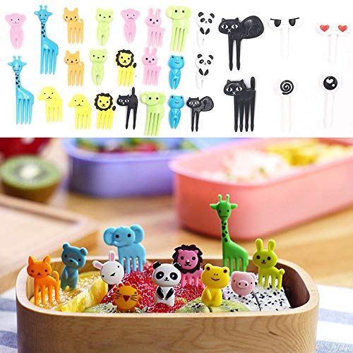 Euone  Fruit Forks Clearance , 36Pcs Lovely Animal Food Fruit Forks Decor Animal Mini Cartoon Toothpick Lunch Decor